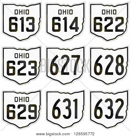 Collection Of Historic Ohio Route Shields Used In The United States