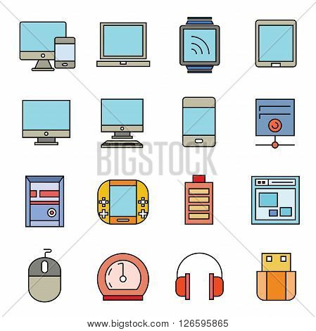 collection of 16 computer and electronic device icons color theme