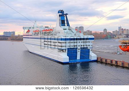 Cruise ship in St. Petersburg  port, Russia