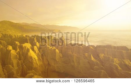 Panorama Rock Scenic Mountain Geology Scene Concept