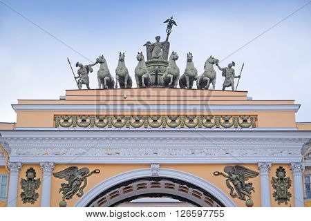 Sculptural group on an arch roof at Palace Square in St. Petersburg, Russia.