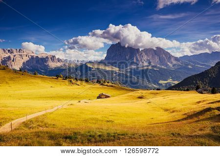 Nice view of the alpine valley and blue sky. Dramatic scene. Location famous resort Gardena, Sassolungo (Langkofel) and Sella group, National Park Dolomites, South Tyrol. Italy, Europe. Beauty world.