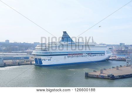 Cruise ship in Tallin harbour, Estonia