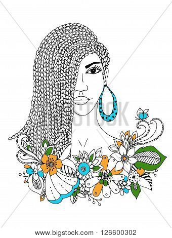 Vector illustration zentangl portrait of African American woman. Doodle floral frame, African braids, coloring book anti stress for adults. Black and white.
