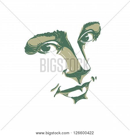 Hand-drawn monochrome portrait of delicate good-looking dreamy still woman art vector drawing. Emotional expressions idea image face features.