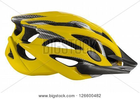 Yellow cycling helmet isolated on white. Clipping path included.
