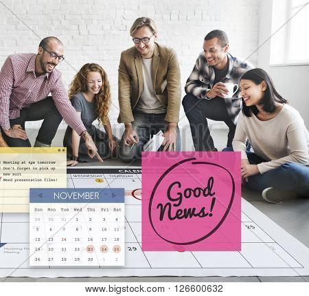 Good News Information Announcement Schedule Concept