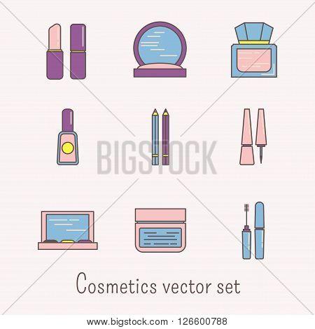 Lineart cosmetics vector icons set. Mascara, gloss, lipstick, rouge, eye liner, shadows.