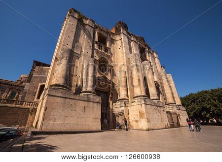 CATANIA ITALY - MARCH 31: Cathedral of San Nicolò l'Arena on March 31 2016