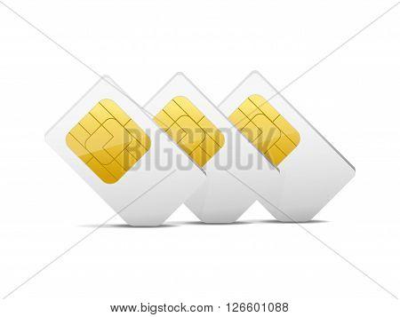 three gray white sim cards vector illustration