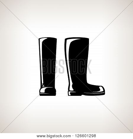 Working Rubber Boots for Working in the Garden, on the Farm, for Fishing, for Walking in the Forest, for Walk through the Puddles in the Rain,  Silhouette Boots, Work Shoes, Vector Illustration