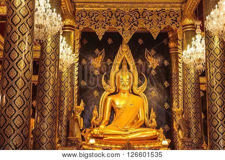Phitsanulok, Thailand - January 03, 2016: Buddha Statue Inside Wat Phrasimahathat Phitsanulok Province Thailand.
