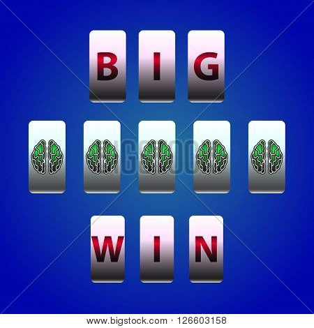 Vector Counter Big Win Slots. Brain symbols winner. Element for casino, game and other projects. Big Win Icon over blue background