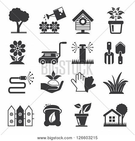 collection of 16 garden icons solid theme