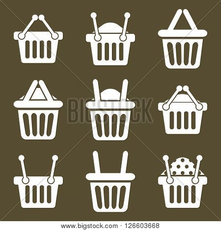 Shopping basket icons vector set supermarket shopping simplistic symbols vector collections.