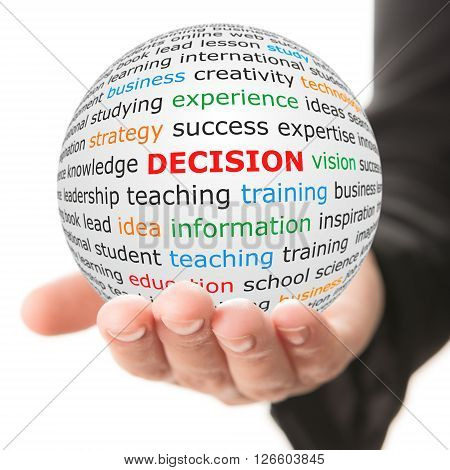 Decision concept. Hand take white sphere with red inscription decision .