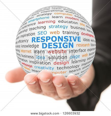 Responsive design concept. Hand take white sphere with big blue inscription Responsive design