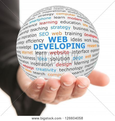 Web developing concept. Hand take white sphere with big blue inscription Web developing