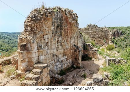 Remains of walls of castle Monfort in northern Israel.