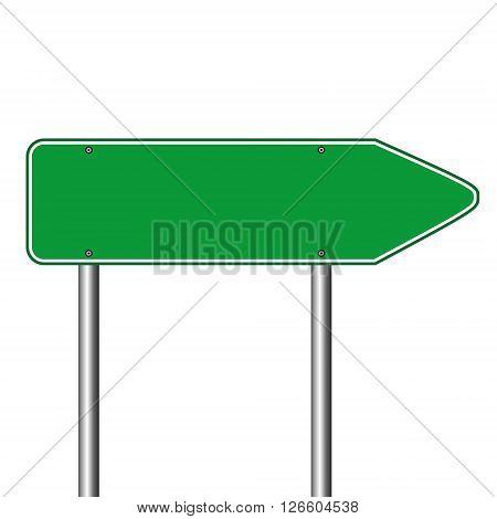 Blank green traffic road sign vector illustration