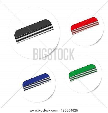 set hairbrush icons isolated on a white background