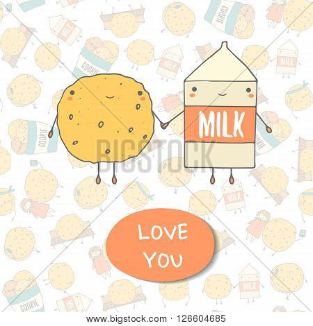 Cute hand drawn doodle postcard with cookie and milk. Love you postcard. Postcards about food love relationship friendship