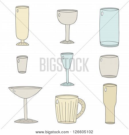 Hand drawn doodle beverage glass collection. Glass for juice alcohol water beer milk cocktail. Glass icons set