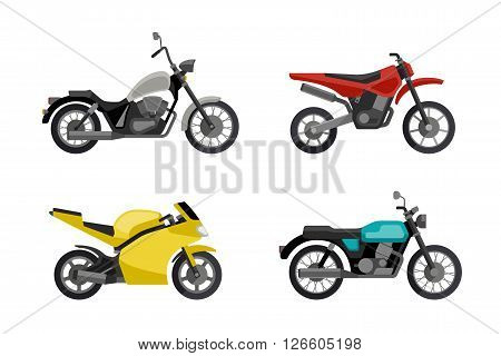 Motorcycles in flat style. Vector illustrations of different type motorcycles.