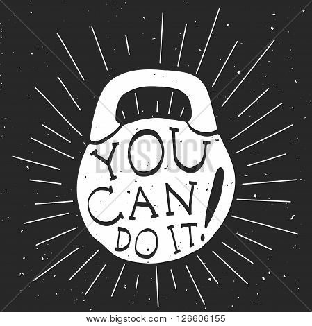 Motivational banner with black and white silhouette of kettlebell.