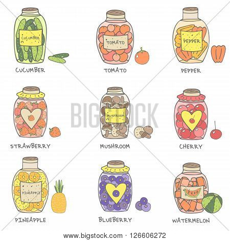 Cute hand drawn doodle jam and marinade jars collection icluding cucumber tomato pepper mushrooms strawberry cherry pineapple blueberry watermelon. Jam jars icon set