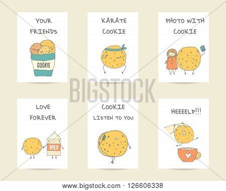 Cute hand drawn doodle postcards cards with cookies characters including karate cookie cookie with phone cookie doing photo with girl cookie with milk cookie with cup. Backgrounds covers set