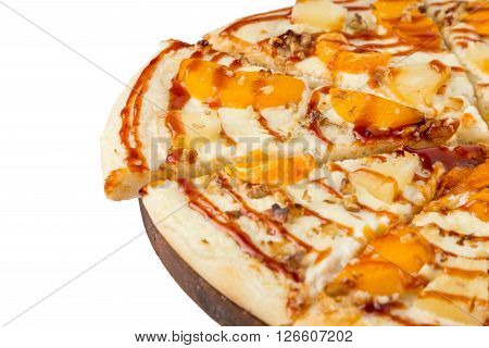 Dessert The Sweet Pizza With Slices Fruits
