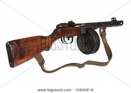 Submachine Gun Shpagina Sample Of 1941, Isolated, On A White Background