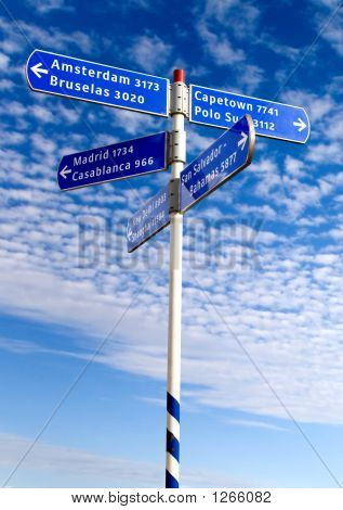 Street Sign With Countries