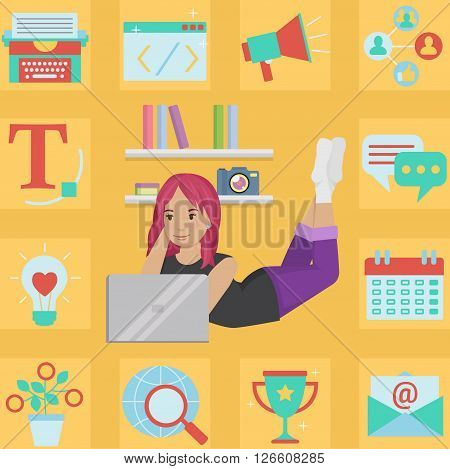 Successful creative cute blogger girl in her room preparing content illustration Bonus: corresponding icon set. Flat minimalistic style.