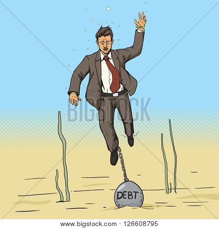 Businessman sinks with weight of debt cartoon comic pop art vector illustration. Human illustration. Comic book style imitation. Vintage retro style. Conceptual illustration