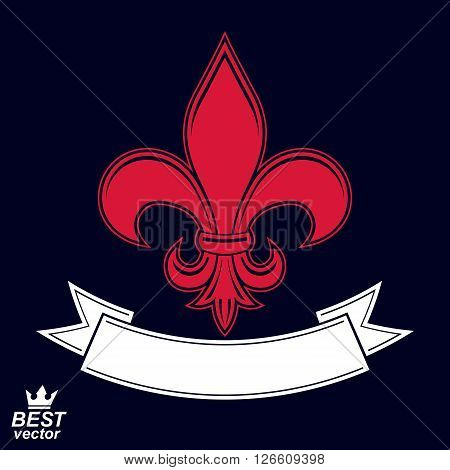 Vector simple majestic element best for web and graphic design. Heraldic stylized blazon with decorative festive ribbon.