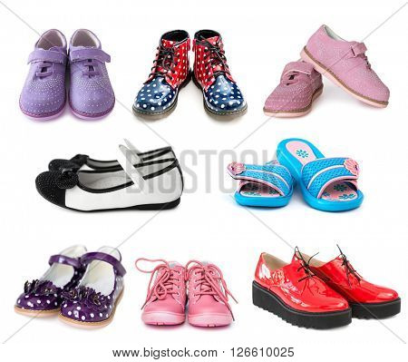 collage of different kids shoes isolated on white background