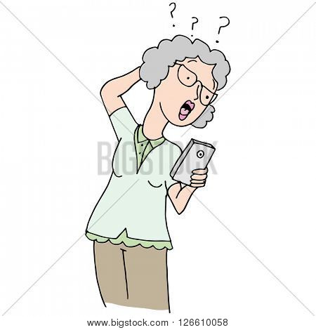An image of a senior woman confused by her new phone.