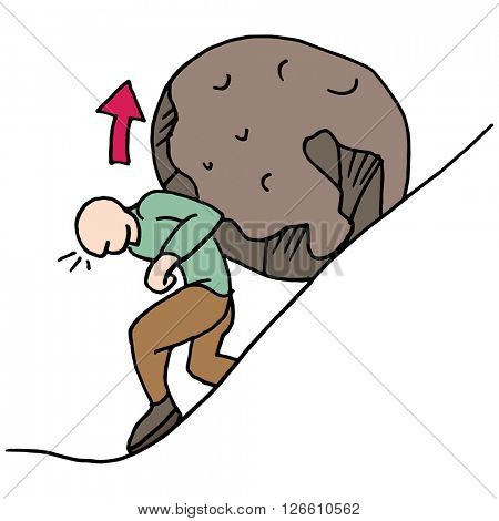 An image of a man role in a rock up a hill.