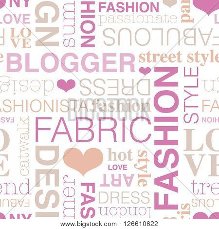 Seamless fashion blogger typography style background pattern pink in vector
