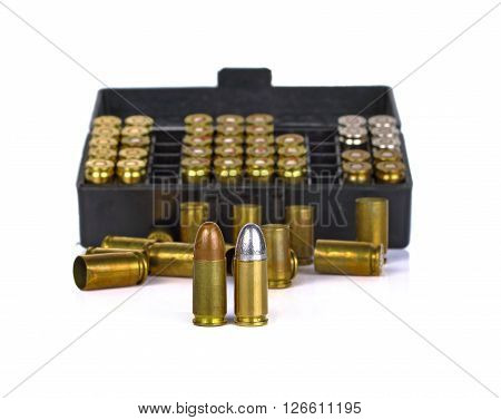 Bullet on white background gun ammunition handgun