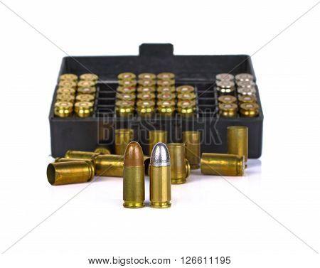 Bullet on white background gun ammunition handgun