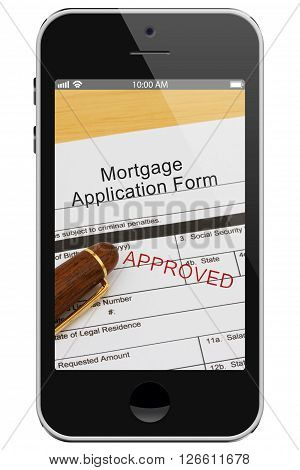 Applying for your mortgage on the Internet Approved Mortgage Application Form with Pen on a cell phone display