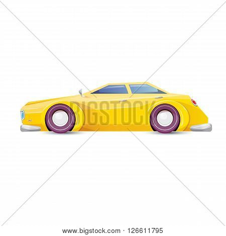 cartoon yellow racing car isolated on white. vector funny car with big wheels