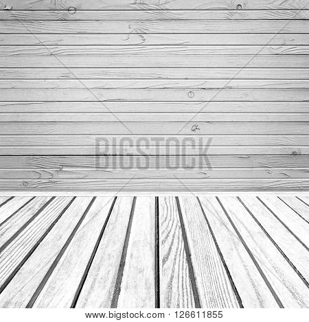 Old wooden room interior, grey empty background with space for your text or design