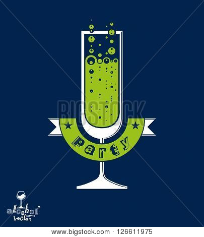 Simple vector champagne party goblet with bubbles and festive ribbon. Alcohol beverage graphic design element, sparkling wine illustration.