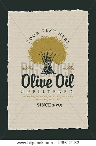 labels for olive oils with olive tree