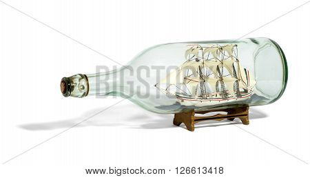 Miniature Tall Ship With Sails Rigged In A Bottle