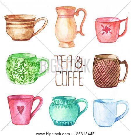 Cup and mug watercolor set.  Hand drawn watercolor illustration.